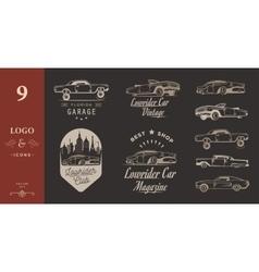Set vintage lowrider logo badge and sign vector