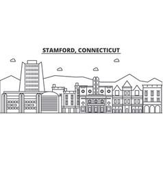 Stamford connecticut architecture line skyline vector