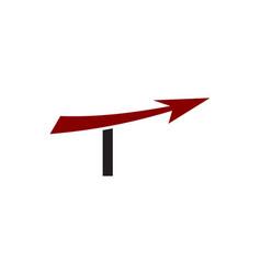 t letter arrow logo vector image vector image