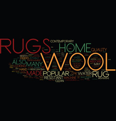 the benefits of a wool rug text background word vector image vector image