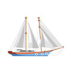 yacht sailboat or sailing frigate ship sea cruise vector image vector image