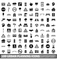 100 urban planning icons set simple style vector