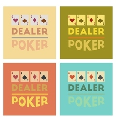 Assembly flat icons poker casino dealer vector