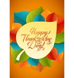 Happy thanksgiving calligraphy greeting card vector