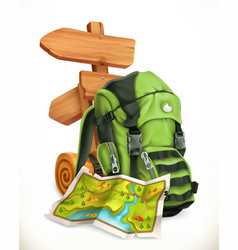 Travel map tourist backpack and road sign 3d icon vector
