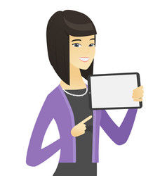 Asian business woman holding tablet computer vector