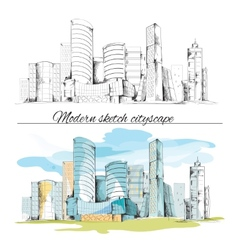 Modern sketch buildings cityscape vector