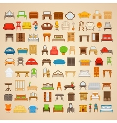 Set of eighty six furniture for home vector