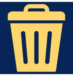 Trash can flat yellow color icon vector