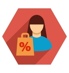 Shopping girl flat hexagon icon with long shadow vector