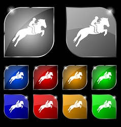 Horse race derby equestrian sport silhouette of vector