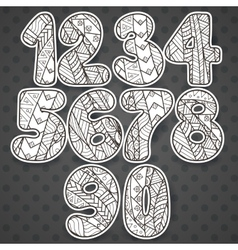 Zentangle numbers set collection of doodle vector