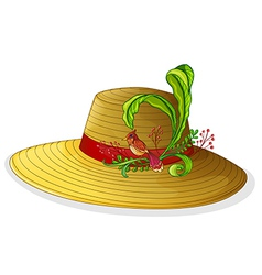 A brown hat with a bird and a plant vector