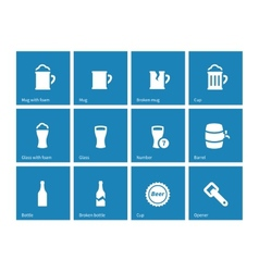 Beer and alcohol glasses icons on blue background vector image vector image