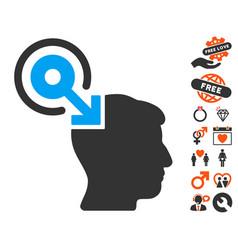 brain interface plug-in icon with valentine bonus vector image