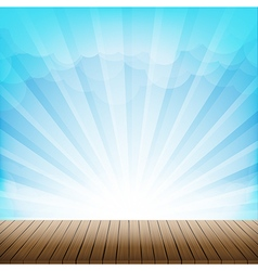 Brown wood floor texture and cloud blue sky vector