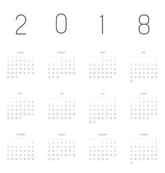 calendar - year 2018 week starts from vector image vector image