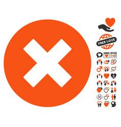 Cancel icon with dating bonus vector