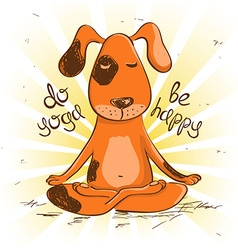 Cartoon red dog sitting on lotus position of yoga vector