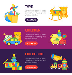 child toys banner horizontal set vector image