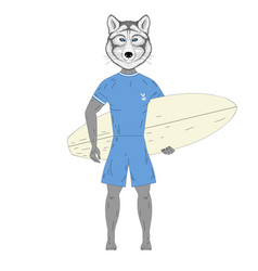 cute surfer wolf with surfboard vector image