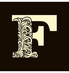 Elegant capital letter F in the style Baroque vector image