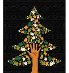 Green christmas tree hands vector