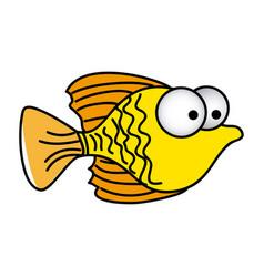 Happy fish cartoon icon vector