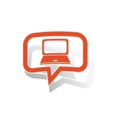 Laptop message sticker orange vector