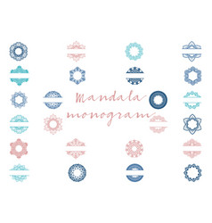 Mandala monogram bundle vector