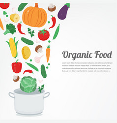 Organic food vegetable food icons healthy eating vector