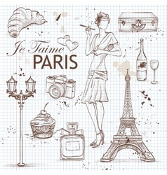 Paris set on note book page vector