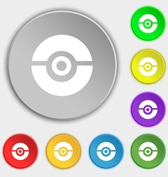 Pokeball icon sign symbol on eight flat buttons vector