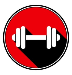 red round with black shadow - white dumbbell icon vector image