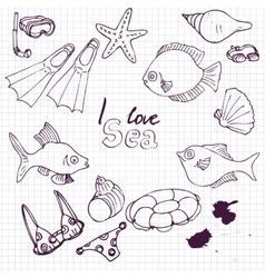 sea set of sketch vector image vector image
