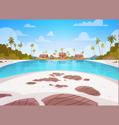 sea shore beach with villa hotel beautiful seaside vector image
