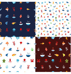 seamless pattern ocean or sea with with animals vector image