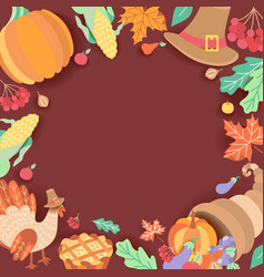 square banner frame with thanksgiving symbols vector image
