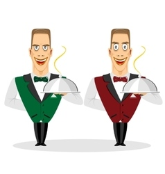 Waiter holding silver serving dome vector