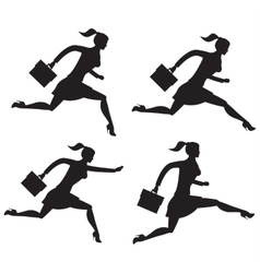 Business lady running set of silhouettes vector