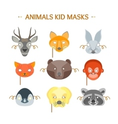 Cartoon animals party mask set for kid vector