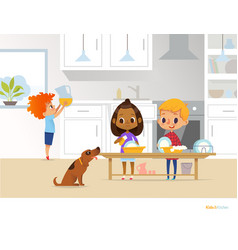 Children cleaning up kitchen two multiracial kids vector