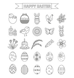 Happy easter icon set line style doodle hand vector