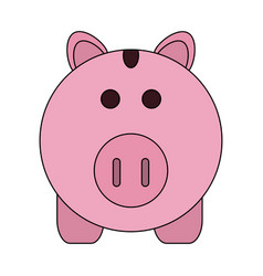 color image cartoon pink piggy bank with dollar vector image