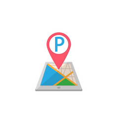 Parking map pointer flat icon mobile gps vector