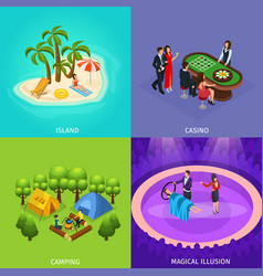Isometric people recreation concept vector