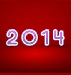2014 New Year image on red background with white vector image vector image