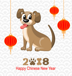 2018 chinese new year of dog lanterns and doggy vector image
