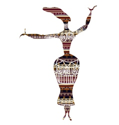 Dancing woman in ethnic style vector