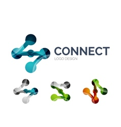 Connection icon logo design made of color pieces vector